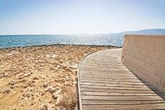 Boardwalk na plaży, Majorca, Balearic wyspy, Hiszpania Fotografia Stock