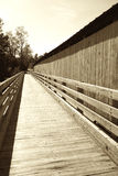 Boardwalk Next to Covered Bridge Stock Image