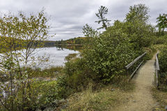 Boardwalk Next to a Lake in Autumn - Ontario, Canada. Trail with a Boardwalk Next to a Lake in Autumn - Algonquin Provincial Park, Ontario, Canada royalty free stock photo