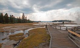 Boardwalk next to Tangled Creek and Black Warrior Springs leading into Hot Lake in Yellowstone National park in Wyoming USA Royalty Free Stock Photo