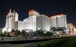 Boardwalk at night in Atlantic City Stock Photo