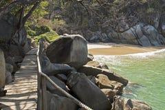 Boardwalk and ocean cove Stock Photo