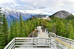 Free Boardwalk On Sulphur Mountain Connecting Gondola Landing.Gondola Ride To Sulphur Moutain Overlooks The Bow Valley And The Town Of Royalty Free Stock Image - 105474186