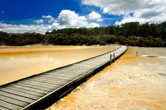 Boardwalk over Artist's Palette, Wai-O-Tapu. Wai-O-Tapu Thermal Wonderland, Rotorua, New Zealand royalty free stock photography