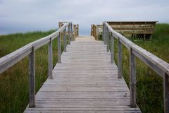 Boardwalk over the dunes in Prince Edward Island Stock Photography