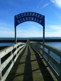 Boardwalk. Over marina in Westport, WA that overlooks Grays Harbor and the Pacific Ocean Royalty Free Stock Images