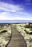 Boardwalk over sand dunes with blue sky Stock Images