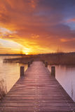 Boardwalk over water at sunrise, near Amsterdam The Netherlands Stock Photo