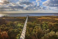 Boardwalk Pamlico dźwięka jesieni salwy Pólnocna Karolina Zewnętrzni banki fotografia stock