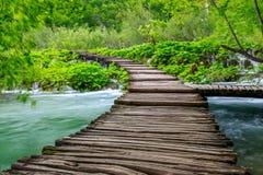 Boardwalk in the park Plitvice lakes Stock Photos