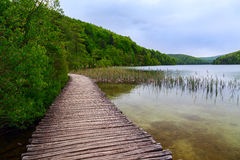 Boardwalk in the park Plitvice lakes Royalty Free Stock Image
