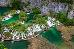 Boardwalk in the park Plitvice lakes Stock Photography