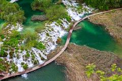Boardwalk in the park Plitvice lakes Stock Photography