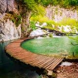 Boardwalk in the park Plitvice lakes Royalty Free Stock Photo
