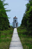 Boardwalk Path To Range Light in Wisconsin Stock Photo