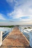 Boardwalk pathway over lake Stock Photos