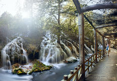 Boardwalk at Pearl Shoal Waterfall Jiuzhaigou, China stock photo