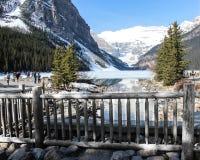 Tourists on boardwalk, Lake Louise, Alberta, Canada stock photos
