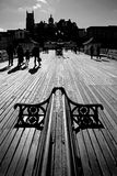 Boardwalk Perspective - Norfolk UK. The boardwalk of an English pier on a sunny winter's day Stock Photo
