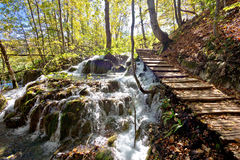 Boardwalk in Plitvice falling lakes national park Royalty Free Stock Photography