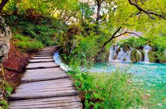 Boardwalk through Plitvice Lakes National Park, Croatia Stock Images