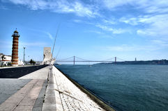 Boardwalk in Portugal. With bridge and the monument of sea discoveries in the background Stock Photography