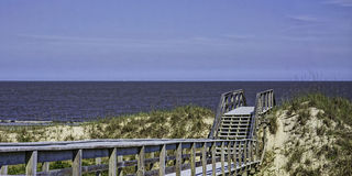 Boardwalk to the beach in Great Dunes Park, Jekyll Island, GA Royalty Free Stock Images