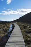 Boardwalk przez Tongariro parka narodowego, Nowa Zelandia zdjęcia royalty free