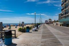 Boardwalk przy Rehoboth plażą Delaware Obrazy Stock