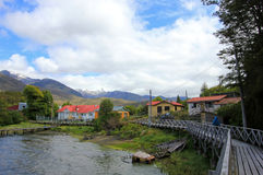 Boardwalk, Puerto Eden in Wellington Islands, fiords of southern Chile Stock Images