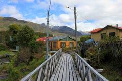 Boardwalk, Puerto Eden in Wellington Islands, fiords of southern Chile Stock Image