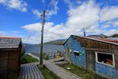 Boardwalk, Puerto Eden in Wellington Islands, fiords of southern Chile Stock Photo