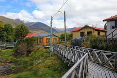 Boardwalk, Puerto Eden in Wellington Islands, fiords of southern Chile Royalty Free Stock Photography