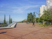 Boardwalk in Rosario City Argentina Stock Image