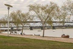 Boardwalk at Santa Lucia River in Montevideo Uruguay Stock Photo