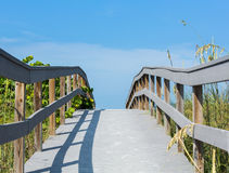 Boardwalk among sea oats to beach in Florida Stock Photo