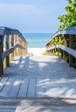 Boardwalk among sea oats to beach in Florida Royalty Free Stock Photo