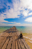 Boardwalk seashore. Relax daylight samed Royalty Free Stock Photography