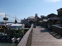 Boardwalk and Shops Stock Photography