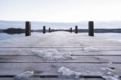Boardwalk with snow and ice on the Ammersee in Bavaria Stock Photo
