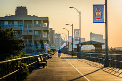 The boardwalk at sunrise in Ventnor City, New Jersey. Stock Image