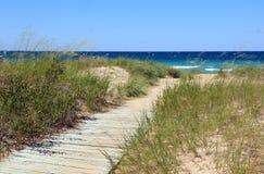 Boardwalk to the Beach. A boardwalk to the beach at Lake Michigan. Shot at Peterson Road Beach Stock Image