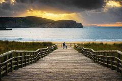 Boardwalk to the beach. In Gorliz Royalty Free Stock Image