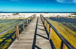 Boardwalk to the beach in Stintino Royalty Free Stock Photos