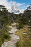 Boardwalk to Cerro Torre peaks Royalty Free Stock Images
