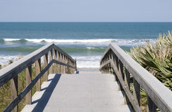 Boardwalk to Ocean. Boardwalk to Atlantic Ocean with Blue Sky Royalty Free Stock Photography