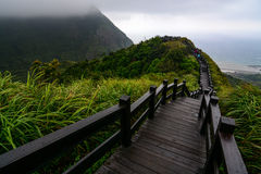 Boardwalk to an overlook on the coast of Jiufen along the Yinyang sea in northeast Taiwan Stock Image