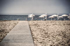 Boardwalk to the sea in vintage tone Royalty Free Stock Photos