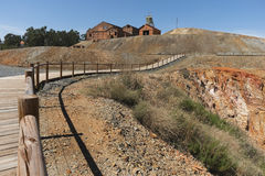 Boardwalk track. In the abandoned mine of Lousal, Grandola, Portugal royalty free stock photo