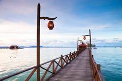 Boardwalk at tropical island Royalty Free Stock Photo